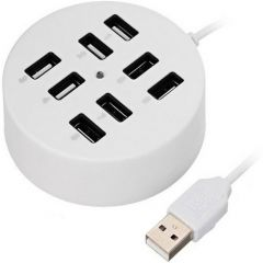 8-Port USB Hub 60cm, Plug and Play Support USB 2.0 upto 1000GB, Connect upto 8 Devices without a Power Adapter