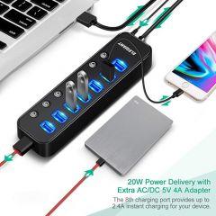 USB 3.0 Hub, 8-Port USB Hub with 8 LED Switch Indicator, Transfer Speed Upto 4.8Gbps