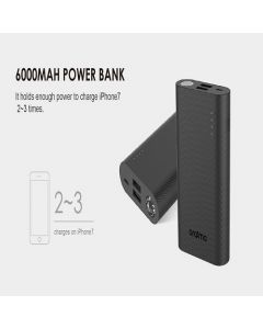 ORAIMO (6000mAh) Fasr Charge Power Bank With Torch  - Black