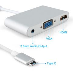 Type-C USB 3.1 to HDMI/VGA/Audio with 10Gbps Super Speed, USB 2.0 Compatible and 1.1 Converter/Adapter