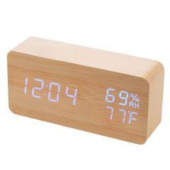 LED Wood Digital Clock with Temperature and Humidity Display