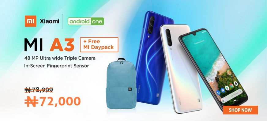 Xiaomi Mi A3 and day pack